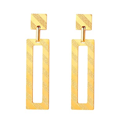 FOCALOOK 18K Gold Plated Drop Earrings for Women,Vintage Minimalistic Geometric Dangle Earrings Wedding Bridal Jewellery