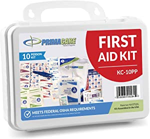 Primacare 10 Person Compact Emergency Preparedness First Aid Kit for Home, School and Office, Wall Mounted