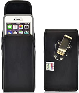 product image for Turtleback Belt Case Compatible with Apple iPhone 6 Plus, iPhone 6S Plus w/OtterBox Defender case Black Vertical Holster Leather Pouch with Heavy Duty Rotating Ratcheting Belt Clip Made in USA
