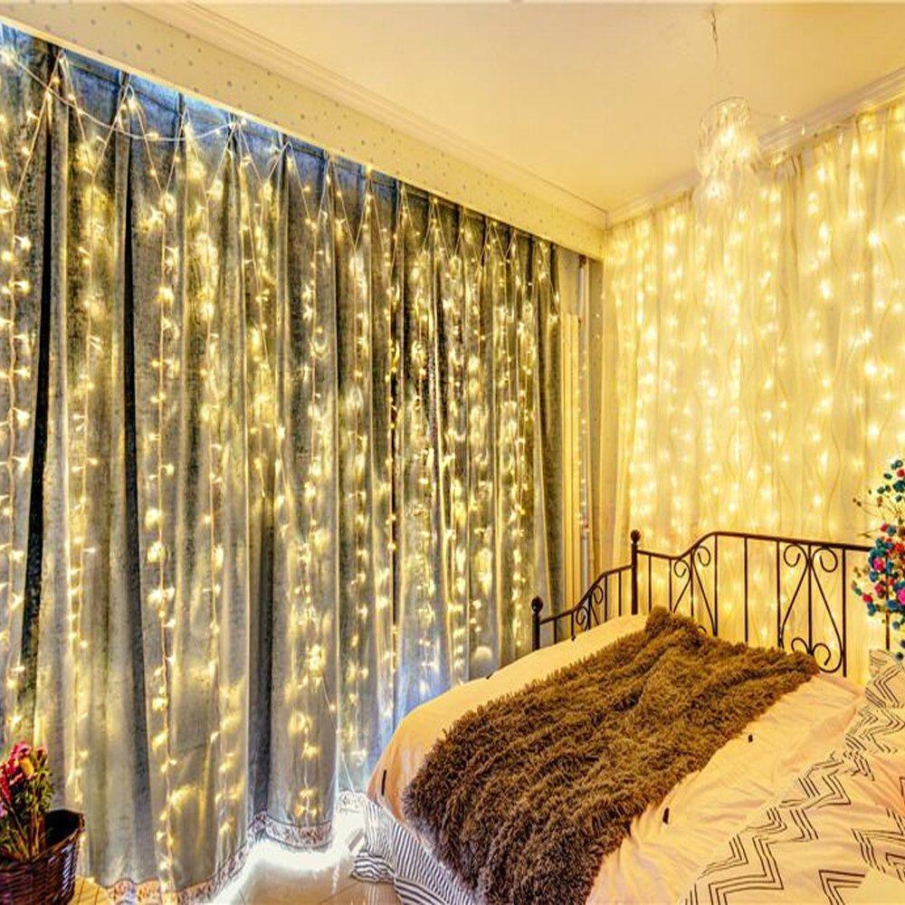 Naisidier Window Curtain String Lights Starry Fairy Icicle Lights, 9.8ft x 9.8ft, 300 LED, 8 Modes, Indoor Lights for Home Wedding Party Garden Wall Window Decorations, Warm White