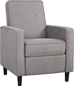 Recliner Chair Fabric with Push Back Accent Arm Chair Comfortable Single Recliner Mid Century Modern Sofa Chair for Home Living Room, Grey