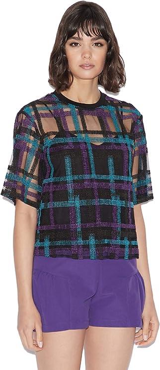 A|X Armani Exchange 阿玛尼 格纹装饰 女式短袖透视上衣 2.2折$37.96 海淘转运到手约¥284 国内¥2200
