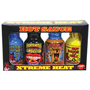 Xtreme Heat Hot Sauce Bottles Gourmet Gift Set Travel Size – 4 Pack - Try if you dare! – Perfect Gourmet Christmas Gifts for the Hot Sauce Fan