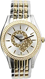 Salvatore Ferragamo Wrist Watch for Women Diamond Inlay Stainless Steel, Gold and Silver