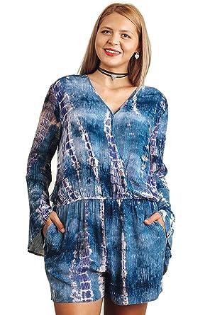 9118b107b20a Amazon.com  Umgee Bohemian Tie Dye Blue Mix Romper Plus Size  Clothing