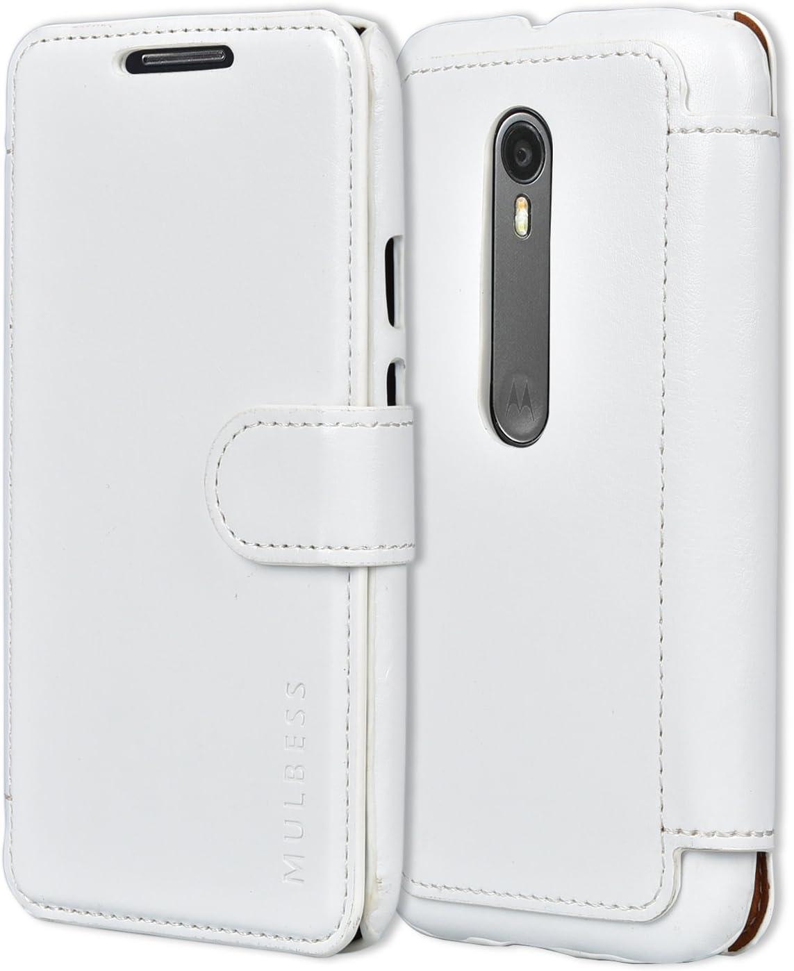 Mulbess Funda Motorola Moto G 3rd [Libro Caso Cubierta] [En Capas de Billetera Cuero de la PU] con Tapa Magnética Carcasa para Motorola Moto G 3 Gen Case, Blanco