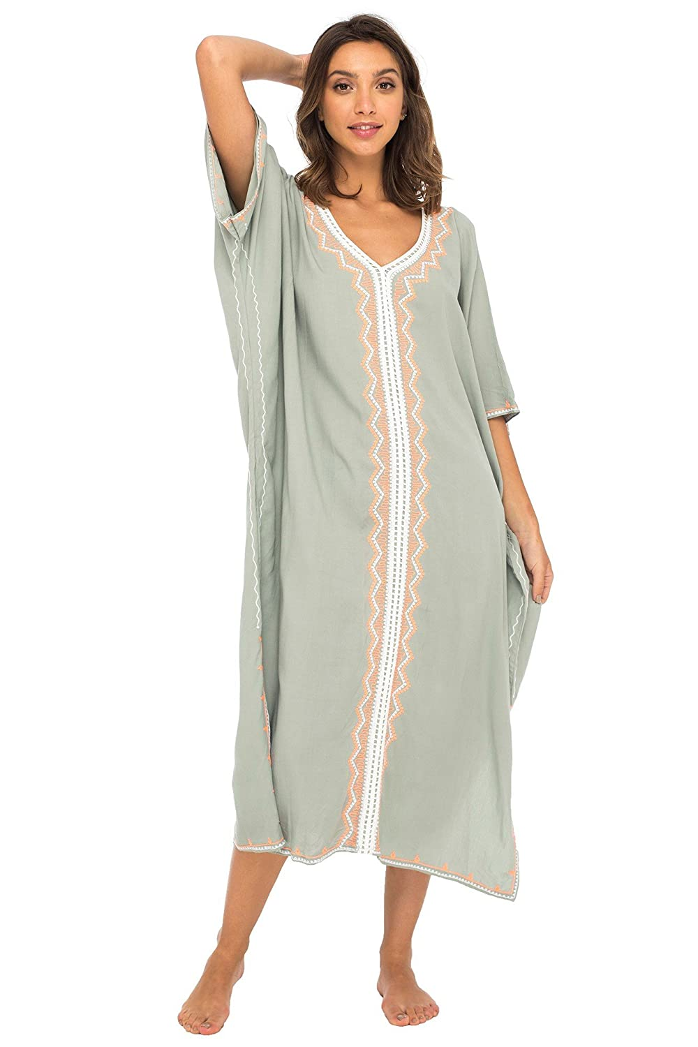 63c97f6d3a Back From Bali Womens Beach Cover up Maxi Embroidered Dress, Long Beach  Caftan Poncho for Swimsuit Grey at Amazon Women's Clothing store: