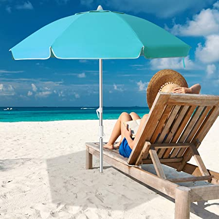 Royal Blue Green Stripe MOVTOTOP Beach Umbrella Portable UV 50+ Protection Beach Umbrella with Carry Bag for Outdoor Patio 6.5ft Patio Umbrella with Tilt Mechanism