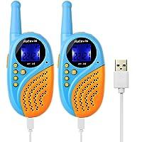 Retevis RT-35 Kids Walkie Talkies Rechargeable VOX with Digital Clock Alarm for Birthday Gift Christmas (Bule + orange, 1 Pair)