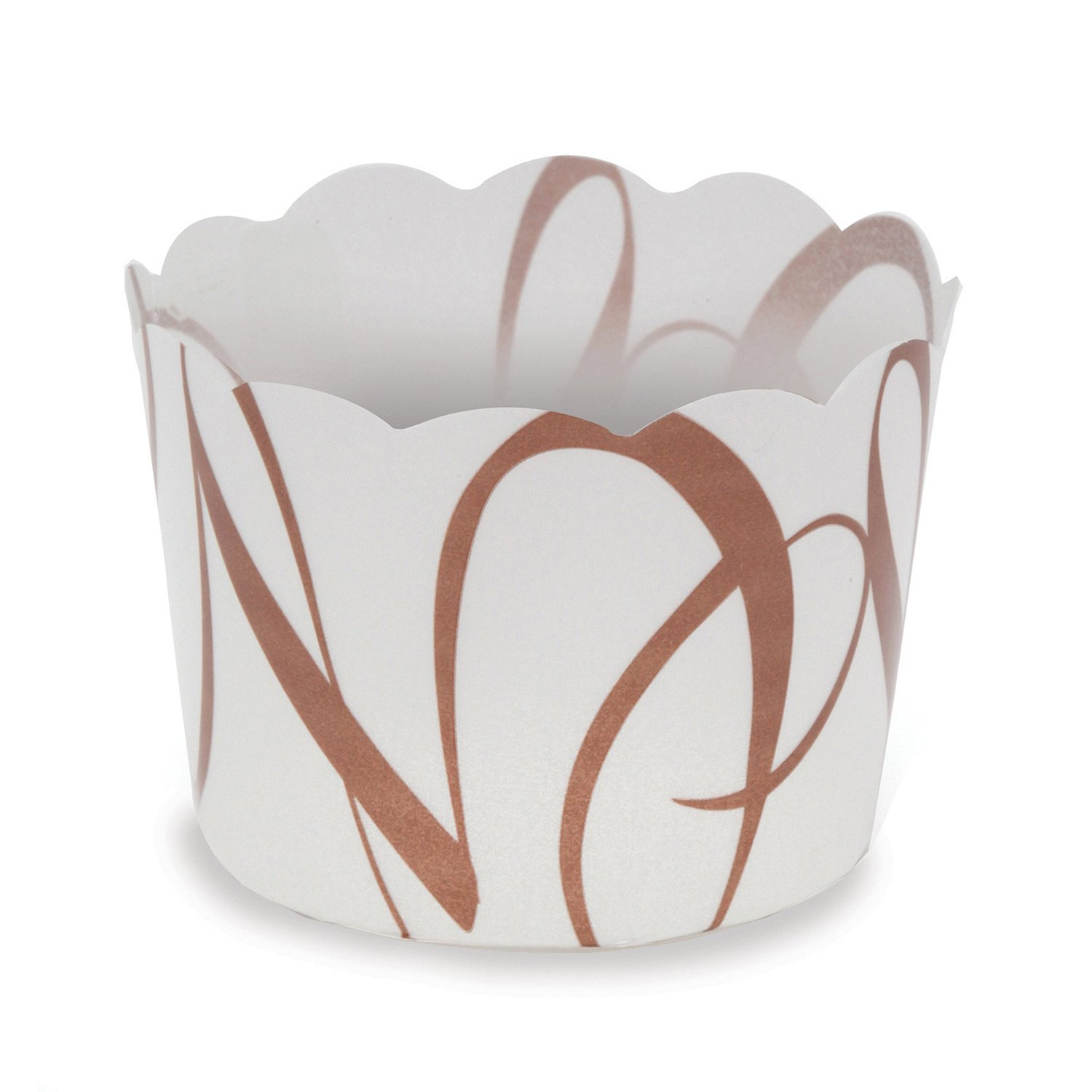 Welcome Home Brands White-with-Brown-Script Plastic Baking Cup 1.7 Inch Diameter x 1.4 Inch High - Pack of 100