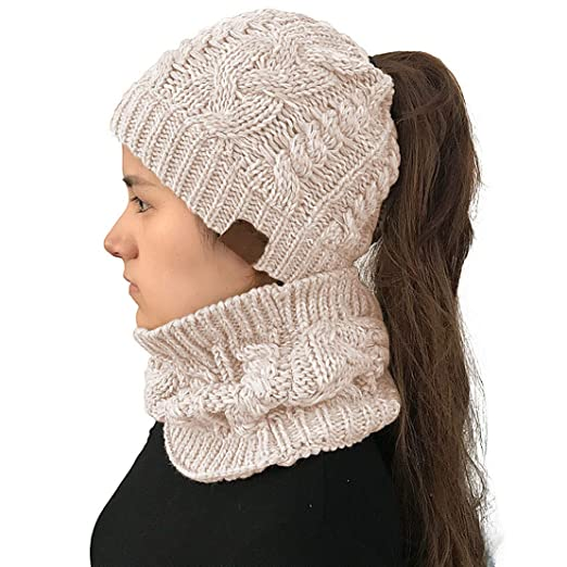 0e84a349e VeMee Ponytail Hats Winter Warm Hat Ponytail Beanie Hat Warm Knit Messy  Stretch Cable Knit Hat Cap