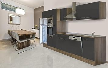 respekta Einbau Küche Küchenblock 370 cm Eiche York Nachbildung Grau ...