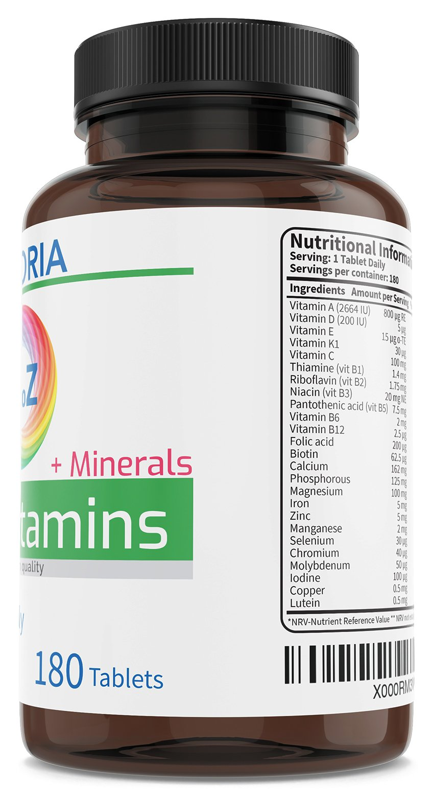 Multivitamin with Iron & Minerals A-Z Formula 180 Tablets for Energy General Health and Wellbeing - Immune System Brain and Bone Health – Balanced Vitamin Complex for Men and Women Non-GMO | UK Made