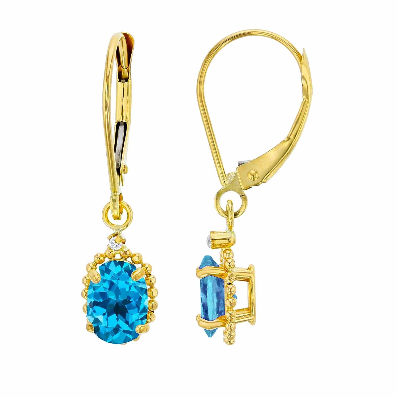 10K Yellow Gold 1.25mm Round White Topaz /& 6x4mm Oval Swiss blue topaz Bead Frame Drop Leverback Earring