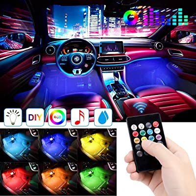 Car LED Strip Light, EJ's SUPER CAR 4pcs 48 LED DC 12V Multicolor Music Car Interior Lights LED Under Dash Lighting Atmosphere Neon Lights Kit with Sound Active Function and Wireless Remote Control……: Automotive