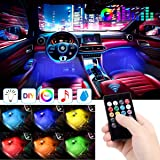 EJ's SUPER CAR Car LED Strip Light, 4pcs 48 LED DC 12V Multicolor Music Car Interior Lights LED Under Dash Lighting…