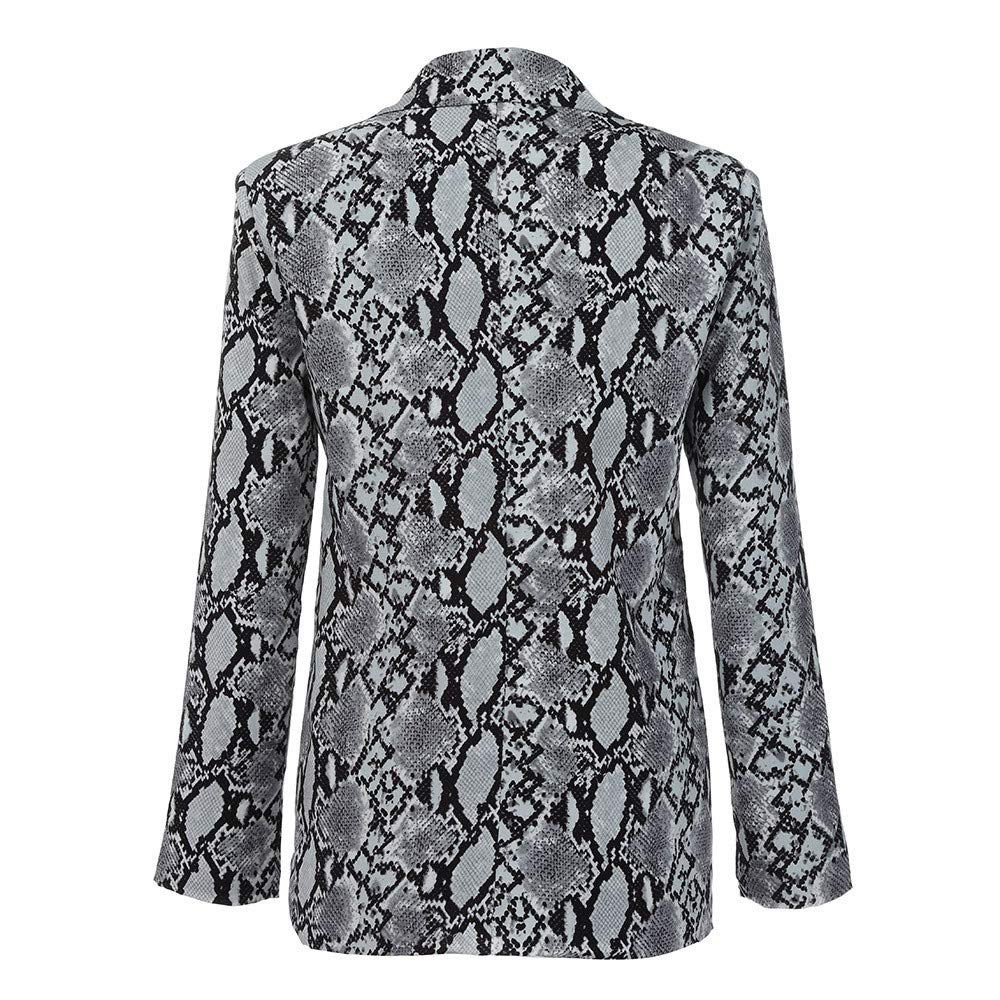 Kulywon Blazers For Women Women Vintage Snake Print Turn down Collar Coat Female Outerwear Fashion Jackets