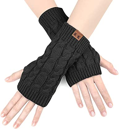 Knitted Long Gloves Koly/® Womens Warm Winter Stretchy Long Sleeve Fingerless Gloves Arm Christmas Gift Ladies