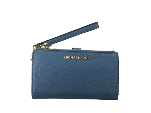 4c3fa228ea03 Amazon.com: Michael Kors Jet Set Travel Double Zip Leather Wristlet ...