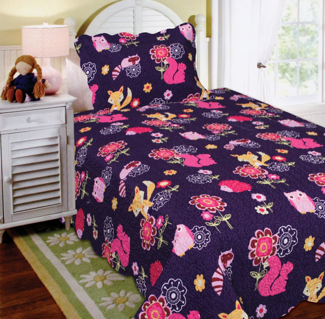 Mk Collection Twin Size 2 Pc Bedspread Teens/girls Owl Fox Animals Purple New by MK Home