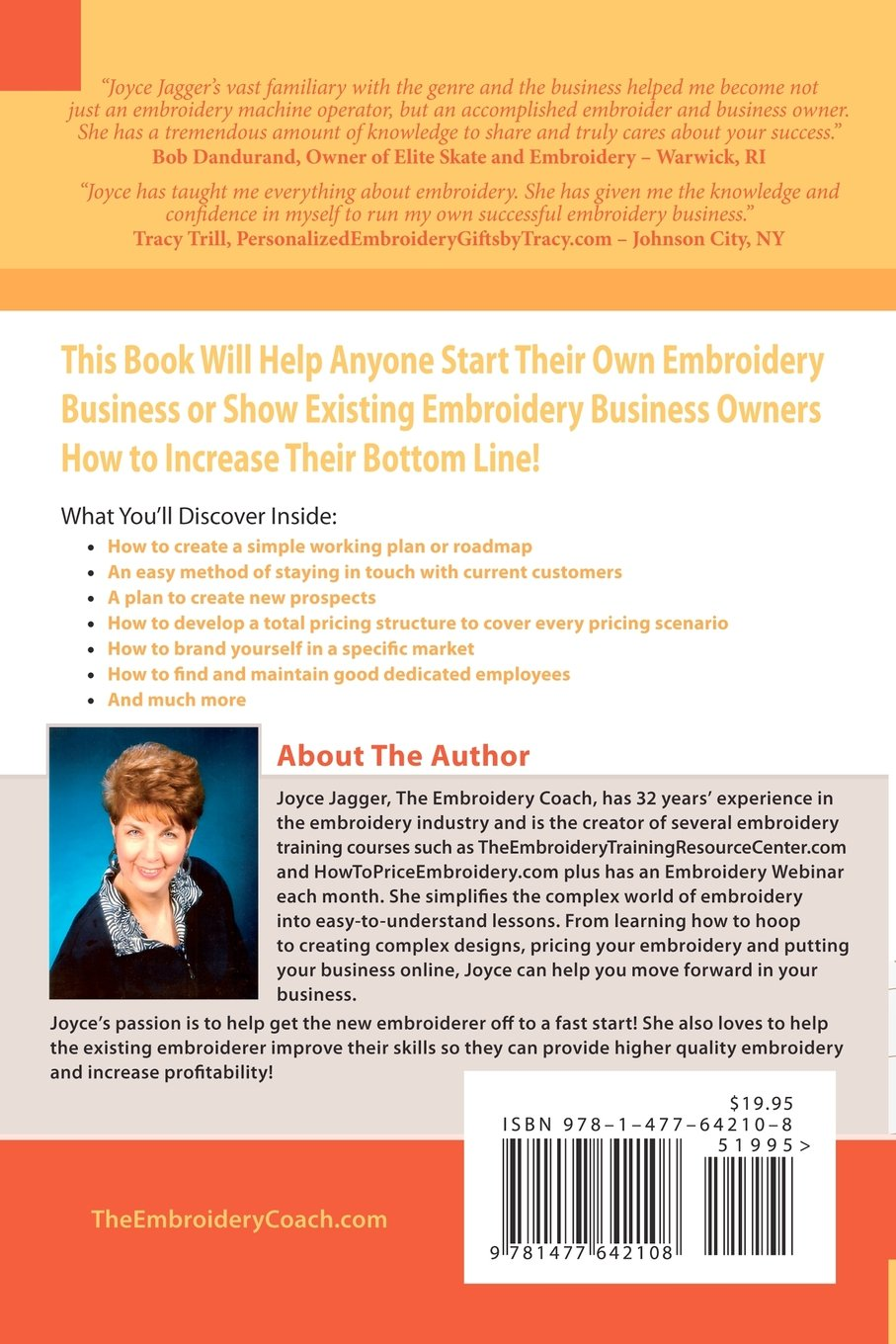 The Truth About Embroidery Business Success: 7 Elements To A Highly  Profitable Homebased Embroidery Business: Joyce Jagger: 9781477642108:  Amazon: