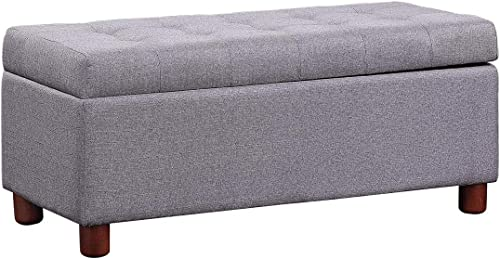 Knocbel Flip-Top Storage Ottoman Upholstered Seat Tufted Linen Fabric Bench Footrest Stool with Solid Wood Frame Legs, 440 Lbs Capacity, 39 L x 16.5 W x 17.75 H Grey