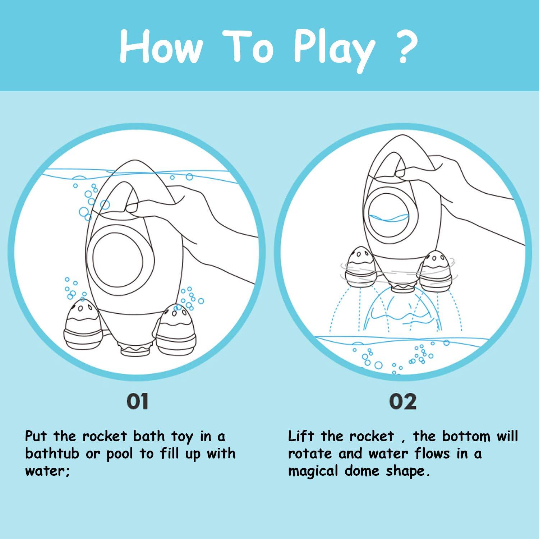 Toyssa Giochi Bagnetto Neonato Fountain Rocket Giochi Bagnetto Chicco Giocattoli Festa Regali per Bebe Bambini Ragazzi Ragazze