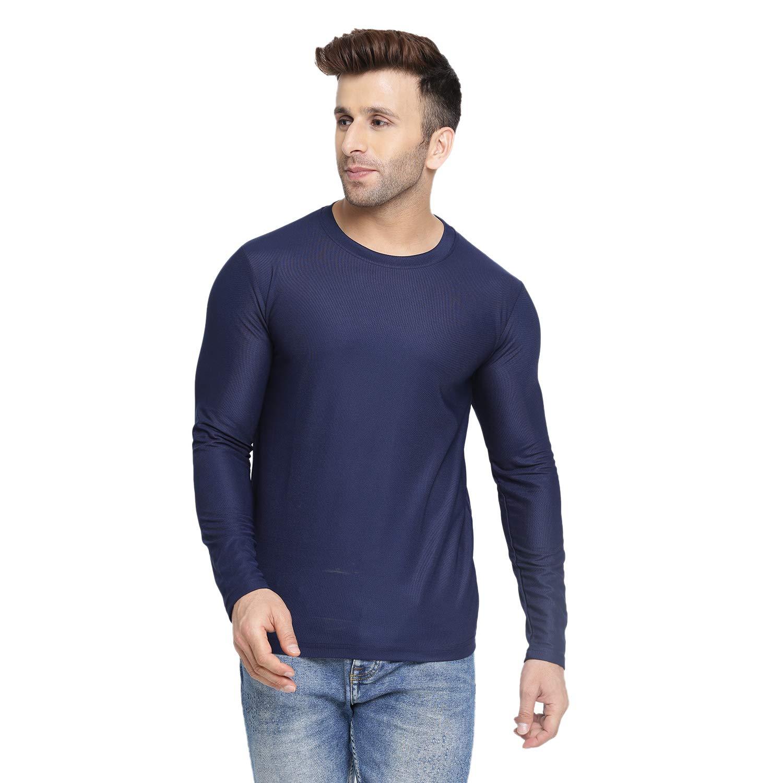 CHKOKKO Men Full Sleeve Solid Active Wear Round Neck Regular Dry Fit Stretchable Yoga Gym Sports Tshirts. Navy Blue (B07VQJ86QJ) Amazon Price History, Amazon Price Tracker