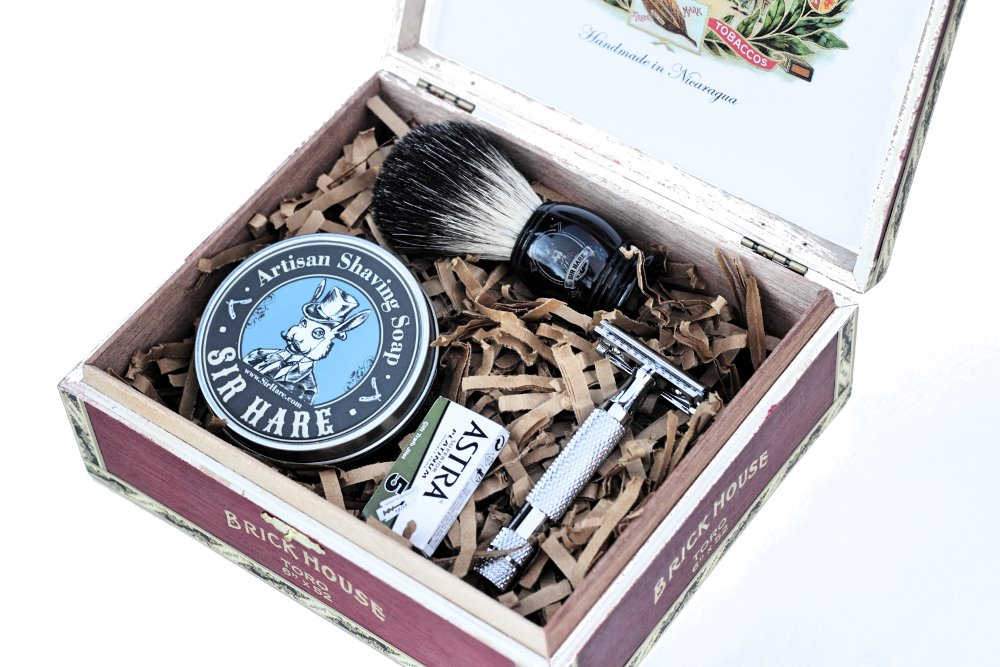 Old School Wet Shave Kit by Sir Hare - Double Edge Safety Razor, Razor Blades, Shaving Soap, and Badger Hair Brush.