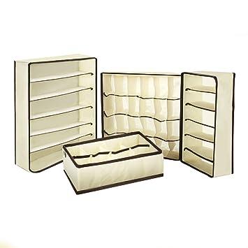 Caolator - 4 cajas de almacenamiento plegables y prácticas con compartimentos para guardar ropa interior, bragas, pañuelos, sujetadores, calcetines y otras ...