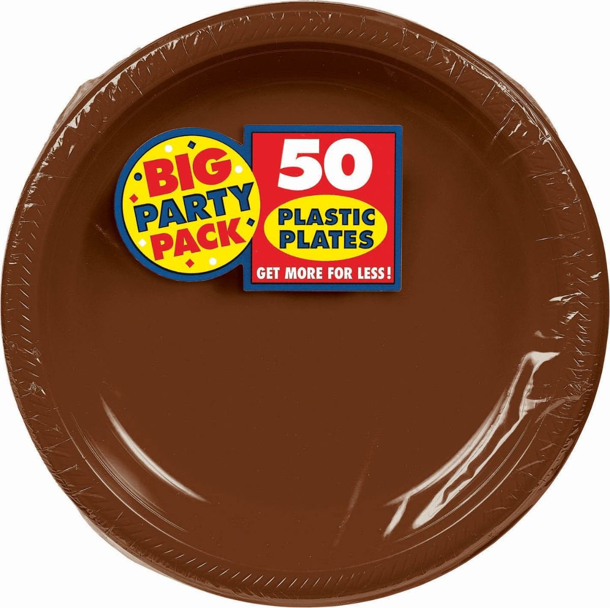 Amscan Big Party Pack 50 Count Plastic Lunch Plates, 10.5-Inch, Chocolate Brown by Amscan (Image #1)
