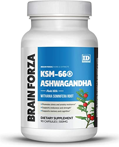 Brain Forza Organic KSM-66 Ashwagandha Root Extract 1,000mg day for Brain, Stress, Memory and Sleep Support, Organic, Non-GMO, 90 Capsules