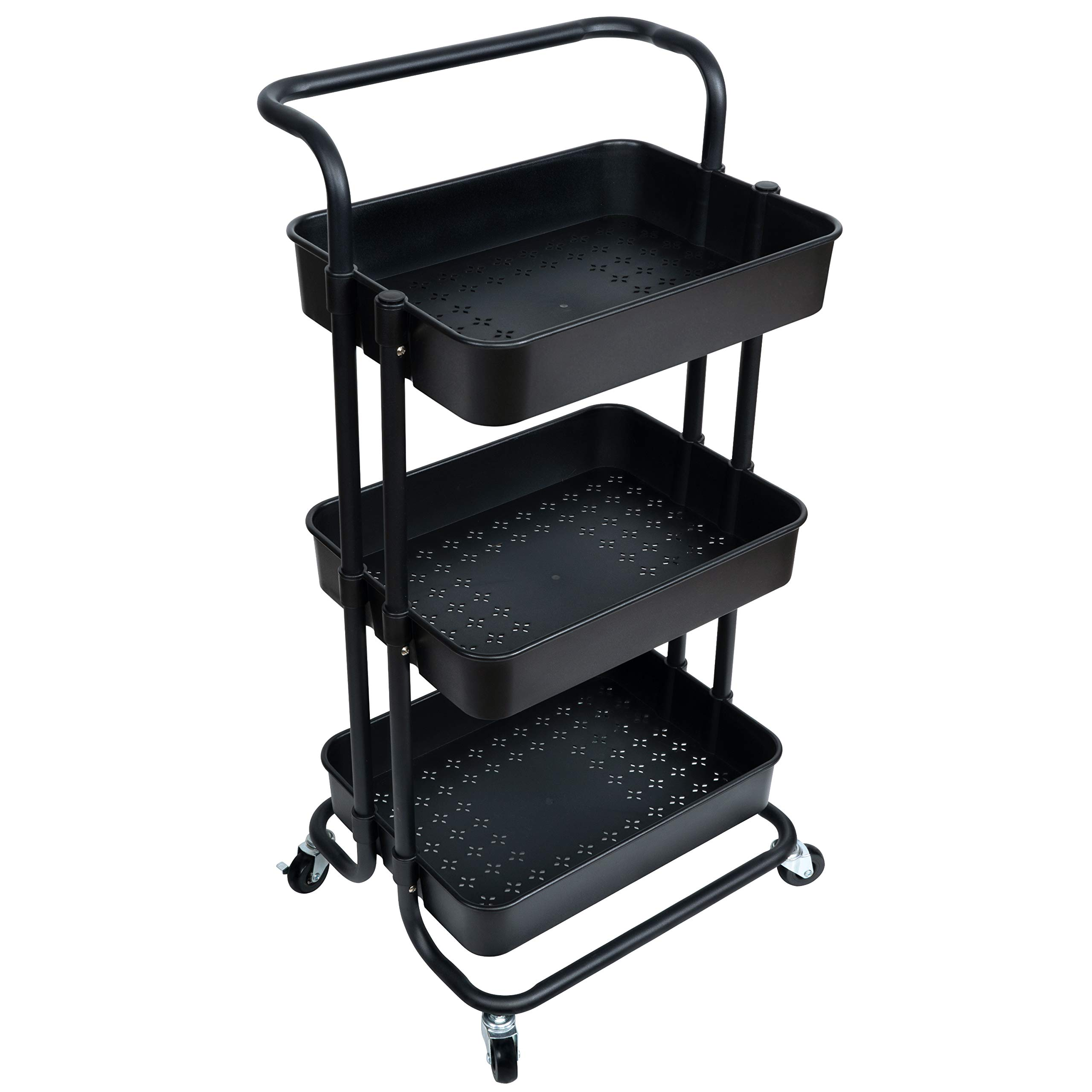 NiDream Bedding 3-Tier Utility Storage Cart, Utility Cart with Lockable Wheels, Multifunction Storage Trolley Utility Cart with Mesh Basket and Handles, Easy Assembly for Kitchen, Bathroom, Black by NiDream Bedding