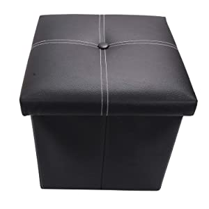 Scrafts Black Square Small PU Seater for Home Decor, Living Room Decor and Gifts, Size: LWH(Inches)- 11x11x12