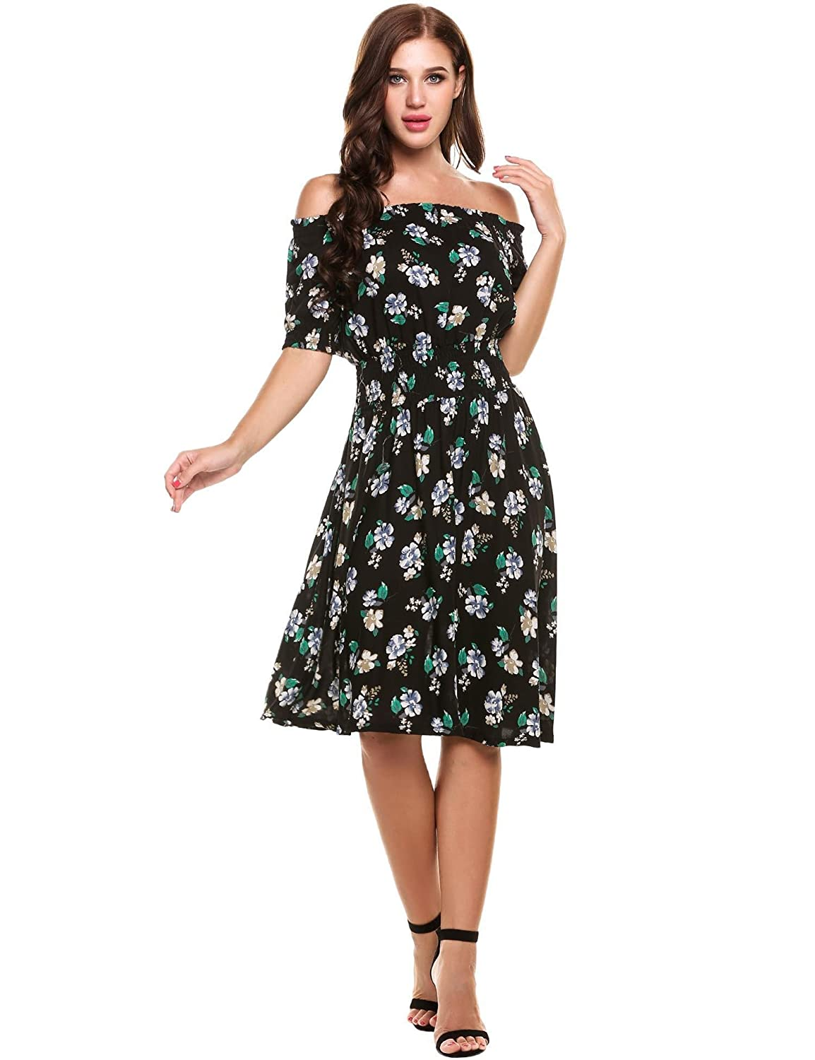 ELESOL Womens Flower Print Dress Off Shoulder Ruffle A line Beach Dress ELH007928