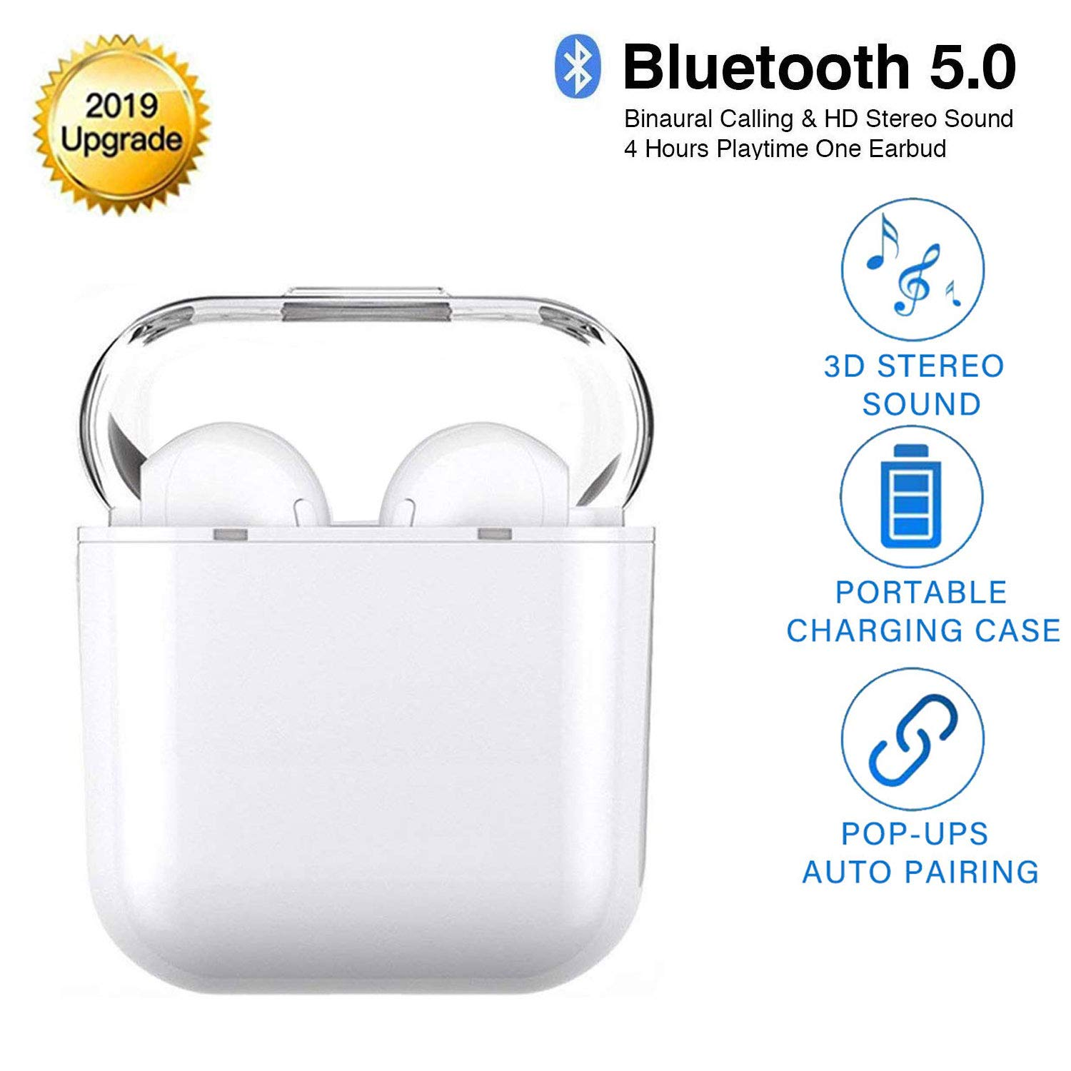 Bluetooth 5.0 Earbuds Noise Canceling Sports 3D Stereo Transparent lid Headphones,IPX5 Waterproof, Pop-ups Auto Pairing, Built-in Binaural Mic Headset for Android iPhone Apple Airpods