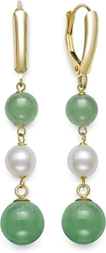 Pearl Earrings Green Agate Decoration 4-5mm Natural Pearl Earrings For Women Gift