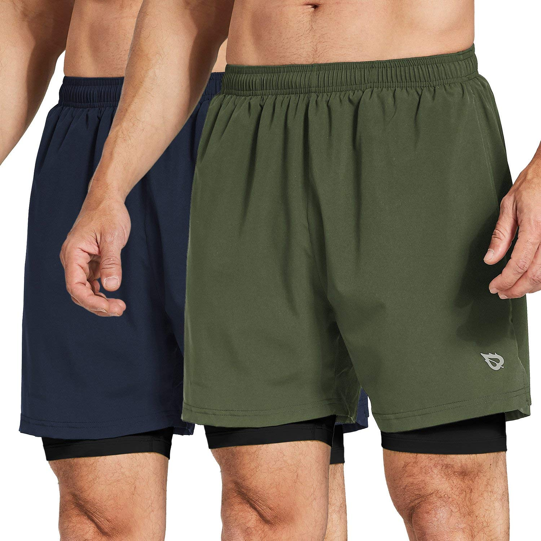 Baleaf Men's 2-in-1 Running Athletic Shorts Zipper Pocket Army Green/Navy Size XL by Baleaf