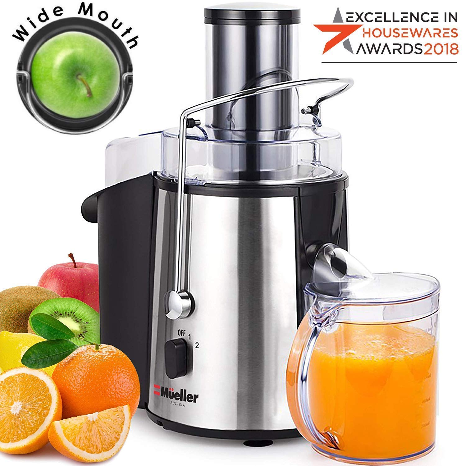 Mueller Austria Juicer Ultra 1100W Power, Easy Clean Extractor Press Centrifugal Juicing Machine, Wide 3″ Feed Chute for Whole Fruit Vegetable, Anti-drip, High Quality, BPA-Free, Large, Silver