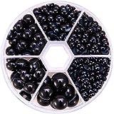 PH PandaHall 1 Box About 690 Pcs Black Assorted Mixed Sizes 4-12mm Flat Back Pearl Cabochons