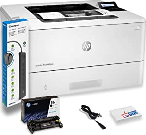 HP Laserjet Pro M404n Monochrome Laser Printer with Power Strip Surge Protector and Electronics Basket Cleaning Cloth