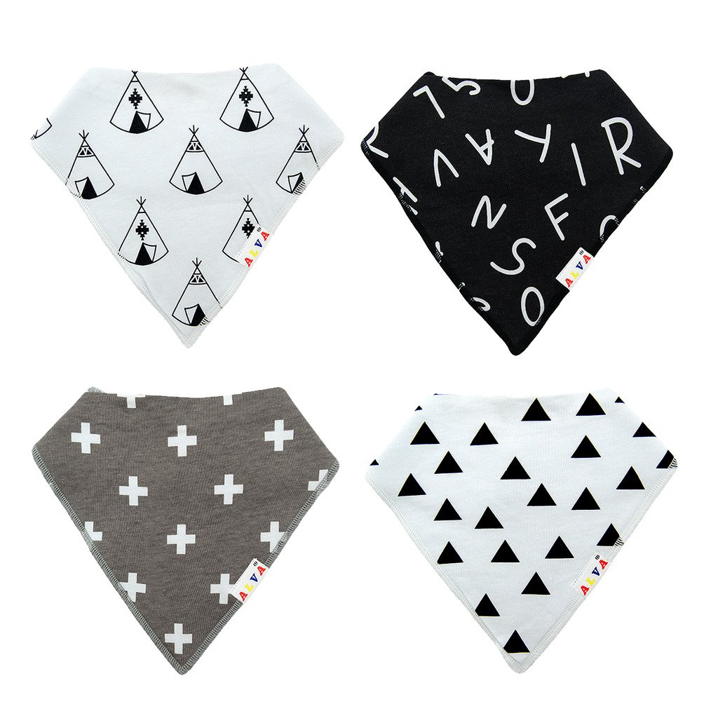 ALVABABY Bandana Drool Bibs for Drooling and Teething Absorbent 8 Pack Gift Set For Boys and Girls 8SD29