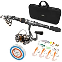 PLUSINNO Spinning Rod and Reel Combos Full KIT Telescopic Fishing Rod Pole with Reel Line Lures Hooks Fishing Carrier…