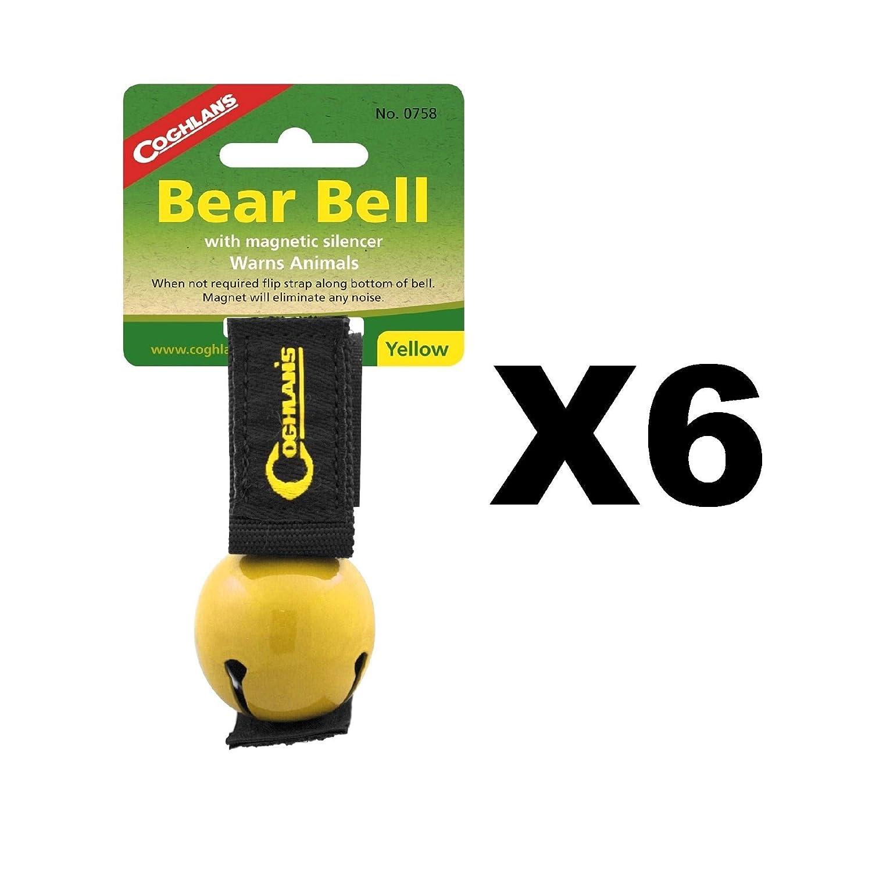 Coghlan's Bear Bell Yellow w/Magnetic Silencer Warns Animals Hiking (6-Pack) Coghlan's