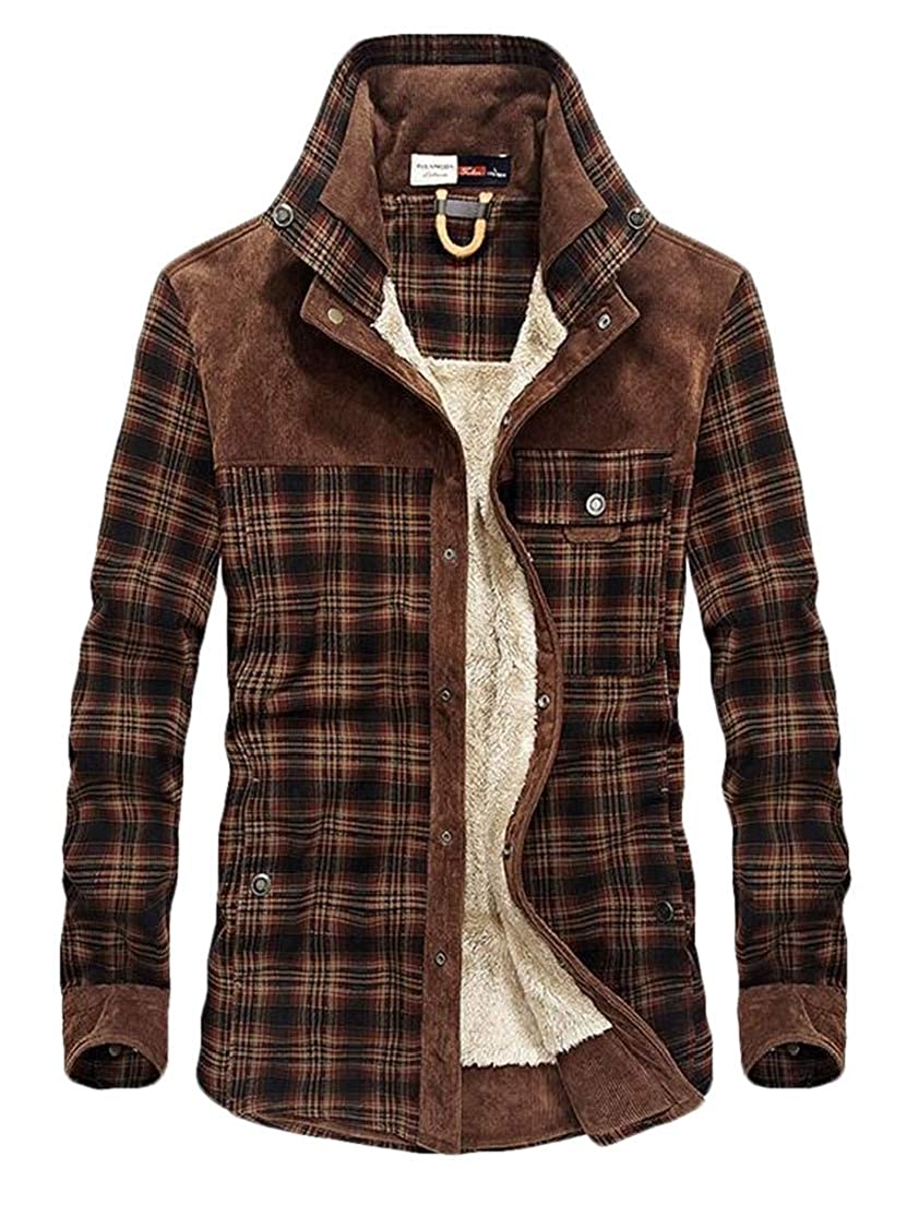 CRYYU Men Autumn Winter Long Sleeve Fleece Sherpa Lined Flannel Plaid Shirt