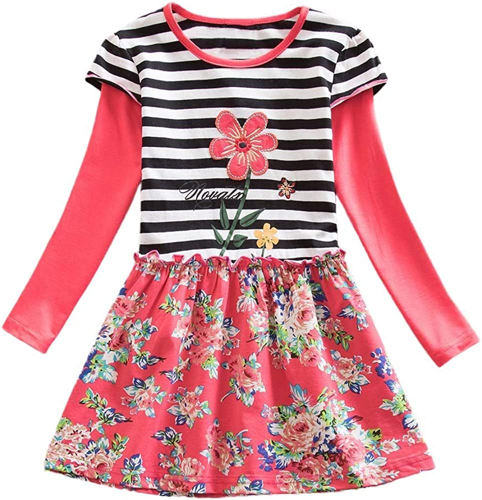 KONFA Teen Baby Girls Striped Short Sleeve Floral Sundress,Suitable For 1-6 Years Old,Little Princess Fashion Skirt Set
