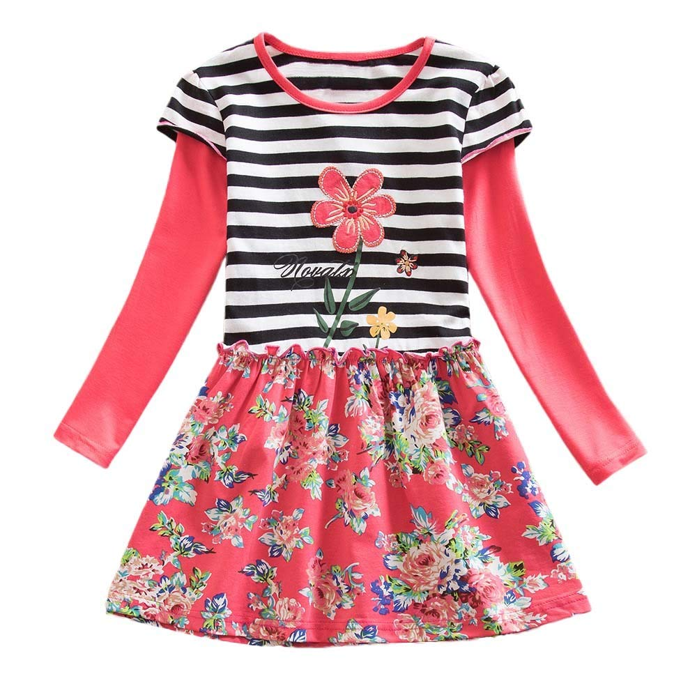 Hatoys Dresses Baby Girls Long Sleeve Stripe Floral Flower Party Dress Outfits Clothes(6 Years,Watermelon Red) by Hatoys (Image #1)