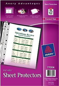 "Avery Heavyweight Diamond Clear Sheet Protectors for Mini Binders, 8.5"" x 5.5"", Acid-Free, 25ct (77004)"