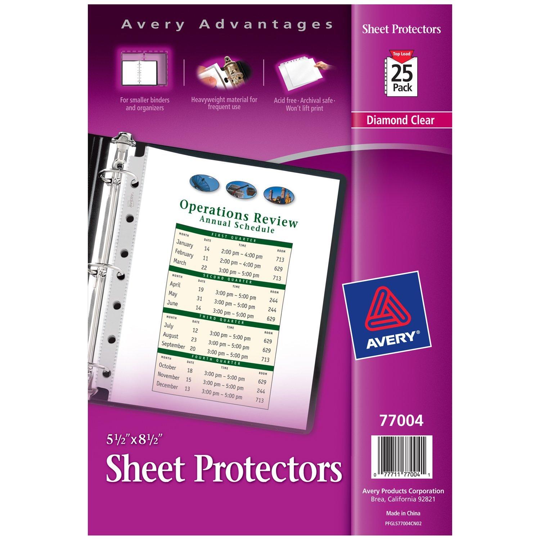 Avery Heavyweight Diamond Clear Sheet Protectors for Mini Binders, 8.5' x 5.5', Acid-Free, 25ct (77004)