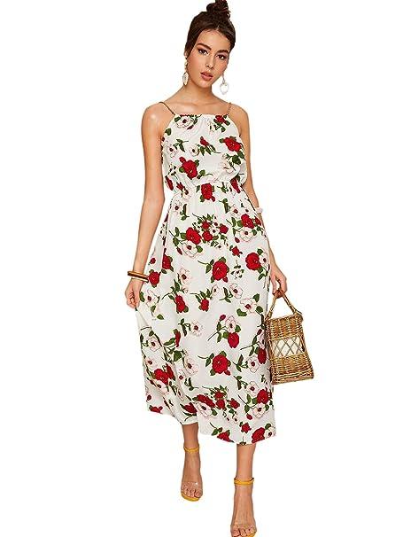 Soly Hux Mujer Vestidos Largos Sin Mangas Vestido De Tirante Con Flores Para Verano O Vacaciones